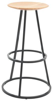 Image of Sgabello bar Grand Gustave - / H 77cm di Hartô - Grigio - Metallo/Legno