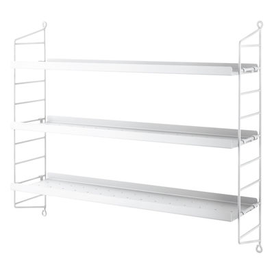 Furniture - Bookcases & Bookshelves - String® Pocket Metal Shelf - / Perforated steel - L 60 x H 50 cm by String Furniture - White - Lacquered steel