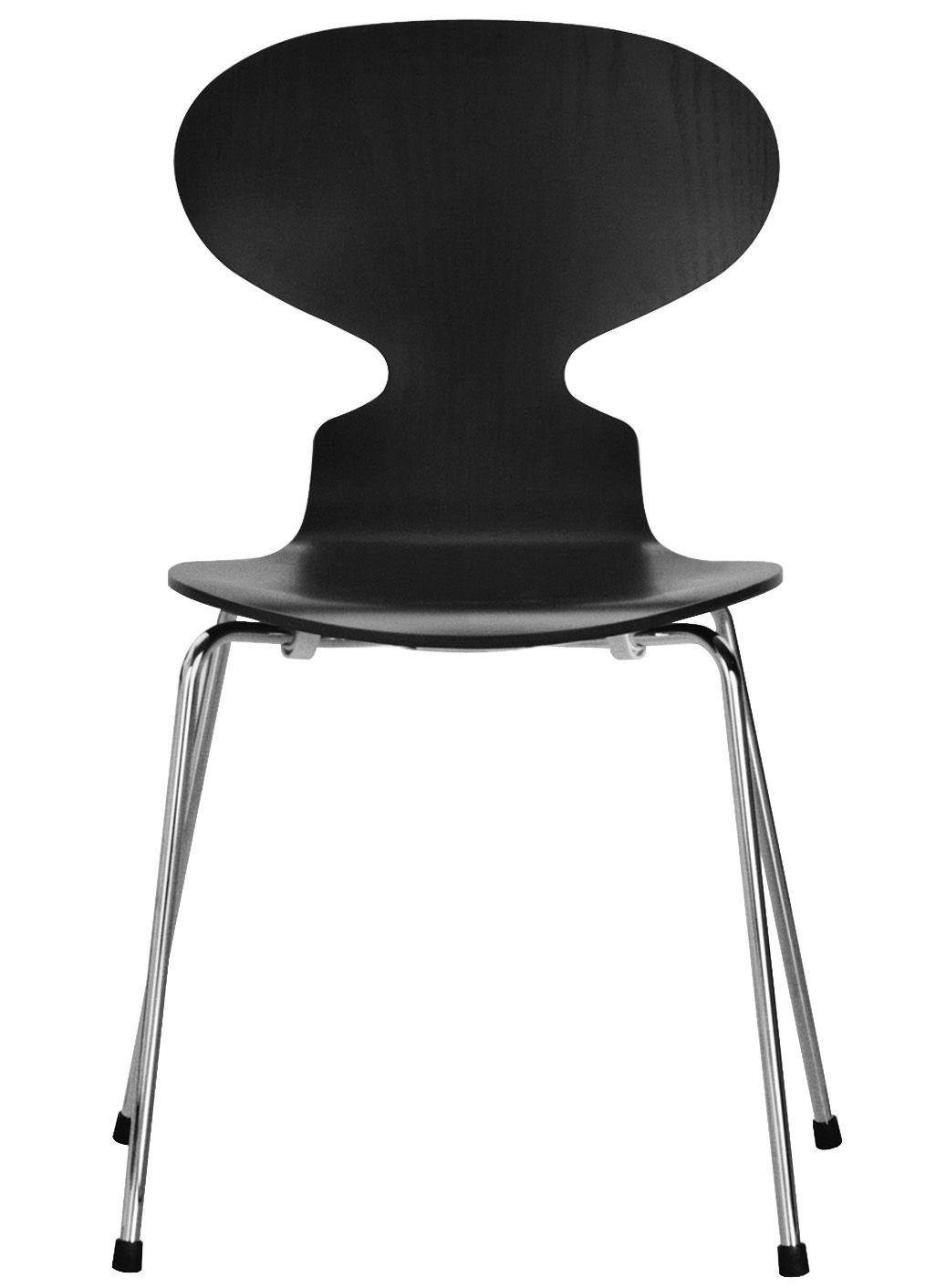 Möbel - Stühle  - Fourmi Stapelbarer Stuhl 4 Füße - Fritz Hansen - Schwarz - Contreplaqué de frêne teinté, Stahl