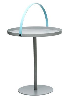 Table basse To Go / Poignée intégrée - H 48 cm - Design Letters gris,turquoise en métal