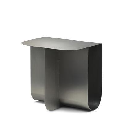 Table d'appoint Mass / 40 x 30 cm - Métal / Porte-revues intégré - Northern acier brossé en métal