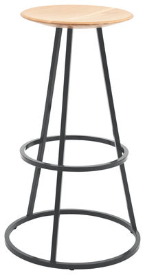 Tabouret de bar Grand Gustave / H 77 cm - Bois & métal - Hartô gris ardoise en métal