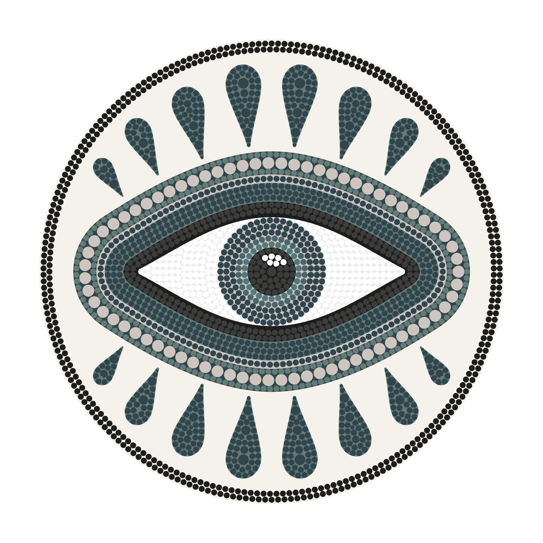Outdoor - Déco et accessoires - Tapis Œil our œil / Ø 145 cm - Vinyle - PÔDEVACHE - Œil / Bleu - Vinyle