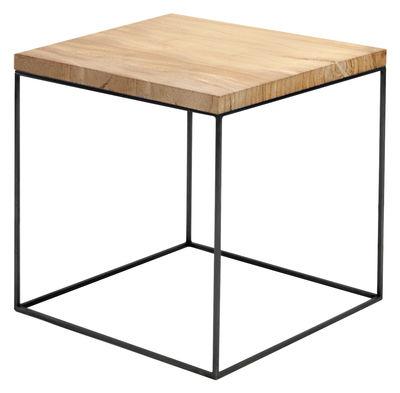 Arredamento - Tavolini  - Tavolino Slim Irony - / 41 x 41 x H 46 cm di Zeus - Top legno / Base nera ramata - Acciaio