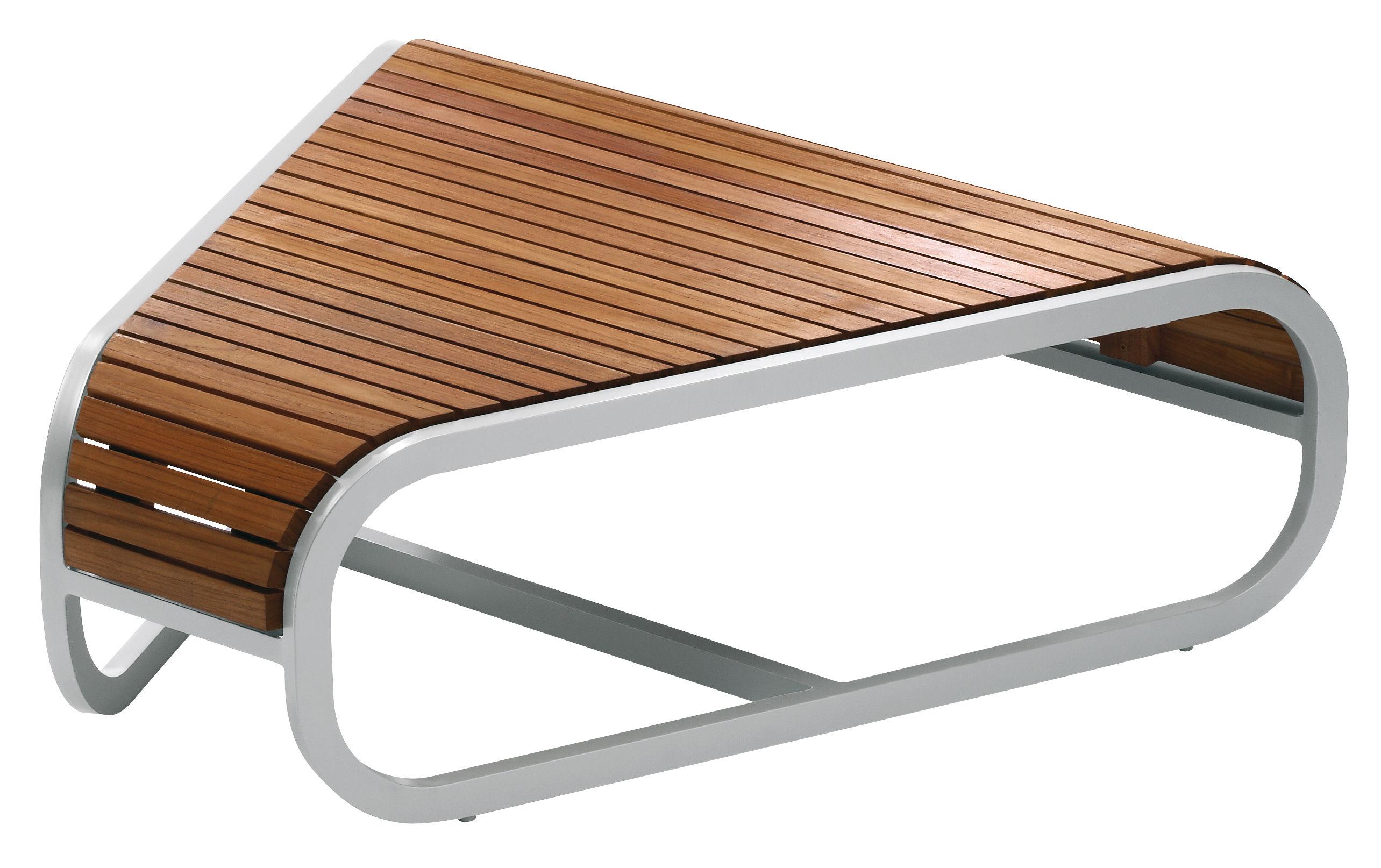 Arredamento - Tavolini  - Tavolino Tandem - Modulo d'angolo - Versione in teck di EGO Paris - Teck - Alluminio laccato, Teck