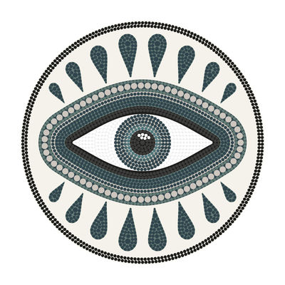 Œil our œil Teppich / Ø 145 cm - Vinyl - PÔDEVACHE - Weiß,Blau,Schwarz