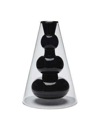 Decoration - Vases - Bump Vase - / Cone H 22 cm - Blown glass by Tom Dixon - Grey / Black - Blown Borosilicate glass