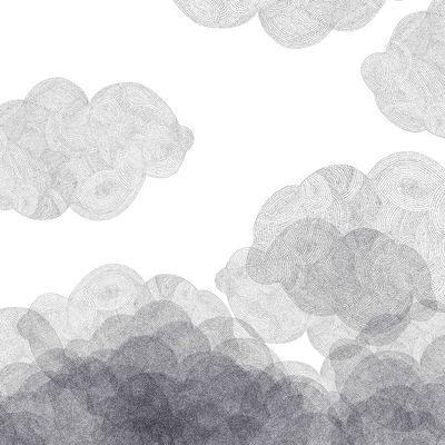 Decoration - Wallpaper & Wall Stickers - Cloudy Wallpaper - 2 bands by Bien Fait - White / Black - Intisse paper