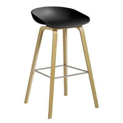 Furniture - Bar Stools - About a ECO AAS32 Bar stool - / H 74 cm - Recycled plastic / EU Ecolabel by Hay - Black / Matt varnished oak - Oak FSC, Recycled plastic