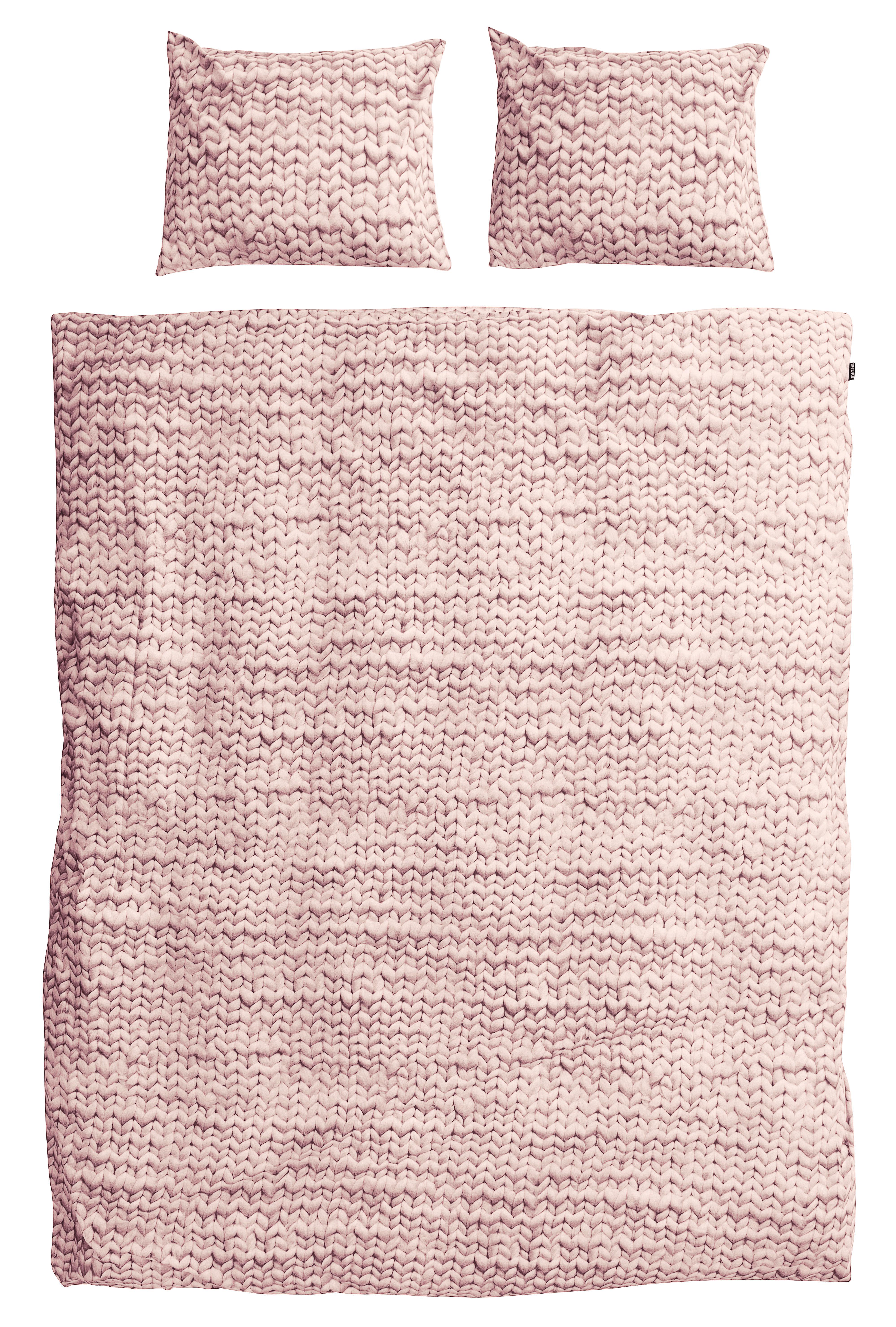 Dekoration - Wohntextilien - Tricot Bettwäsche-Set für 2 Personen / 240 x 220 cm - Snurk - Strickmuster / rosa - Percale de coton