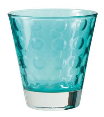 Tavola - Bicchieri  - Bicchiere da whisky Optic / H 9 x Ø 8,5 cm - 22 cl - Leonardo - Blu laguna - Vetro con pellicola