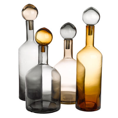 Tableware - Water Carafes & Wine Decanters - Bubbles & Bottles Carafe - / Glass - Set of 4 by Pols Potten - Grey, amber & beige - Mass tainted glass