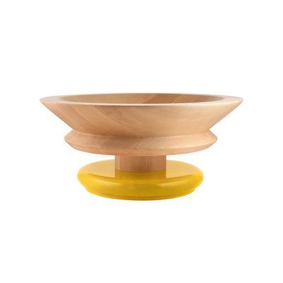 Centre de table / By Ettore Sottsass / Alessi 100 Values Collection - Alessi jaune/bois naturel en bois