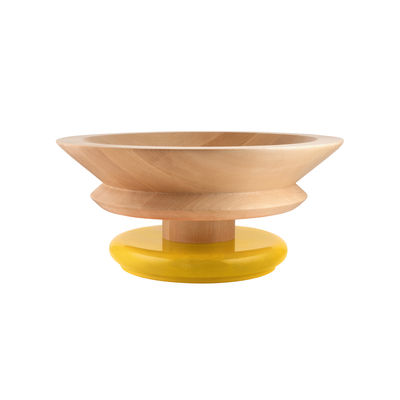 Tableware - Fruit Bowls & Centrepieces - / By Ettore Sottsass Centrepiece - / Alessi 100 Values Collection by Alessi - Yellow / Wood - FSC-certified solid turned lime wood