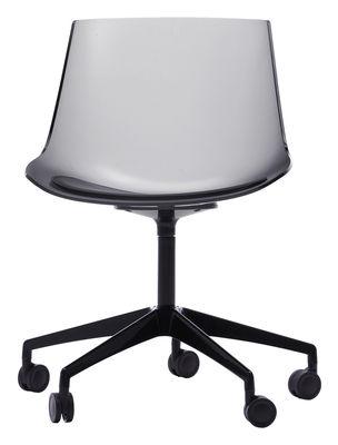 Chaise à Roulettes Flow Fumé Transparent Piètement Noir Mdf Italia Made In Design