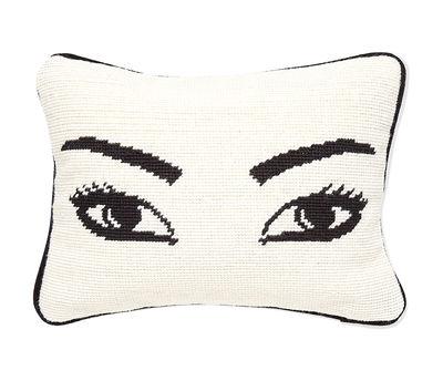 Decoration - Cushions & Poufs - Eyes Cushion - L 30,5 x W 23 cm by Jonathan Adler - Eyes / Black and White - Wool