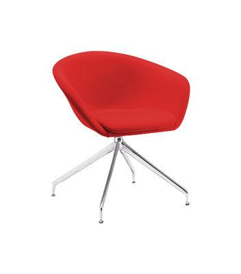 Mobilier - Chaises, fauteuils de salle à manger - Fauteuil pivotant Duna / Rembourré - Arper - Pied acier chromé / Assise tissu Divina 3 rouge - Acier inoxydable chromé, Mousse, Tissu