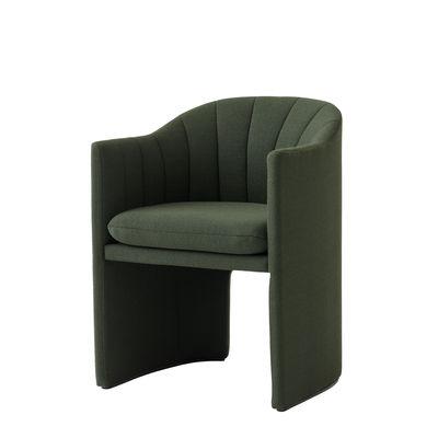 Mobilier - Chaises, fauteuils de salle à manger - Fauteuil rembourré Loafer SC24 / Small - Tissu - &tradition - Tissu / Vert sapin - Bois, Mousse, Polyester, Tissu Kvadrat