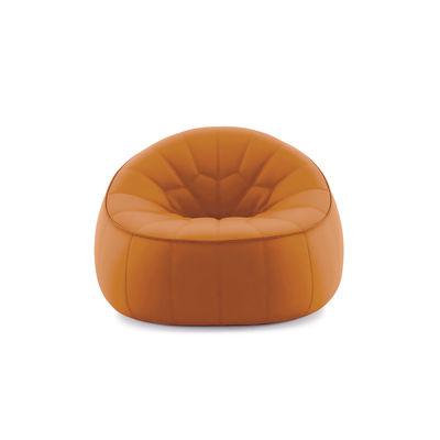 Mobilier - Fauteuils - Fauteuil rembourré Ottoman / Similicuir - Cinna - Orange - ABS, Mousse polyuréthane, Similicuir