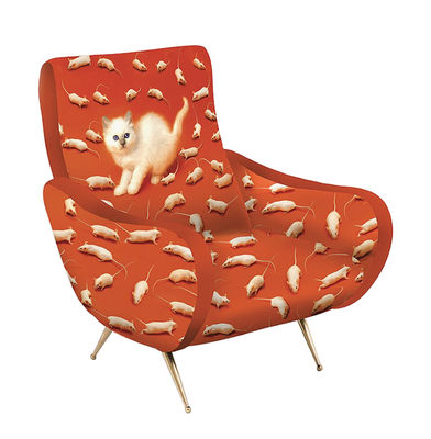Fauteuil rembourré Toiletpaper / Chat - Velours - Seletti orange,or en tissu