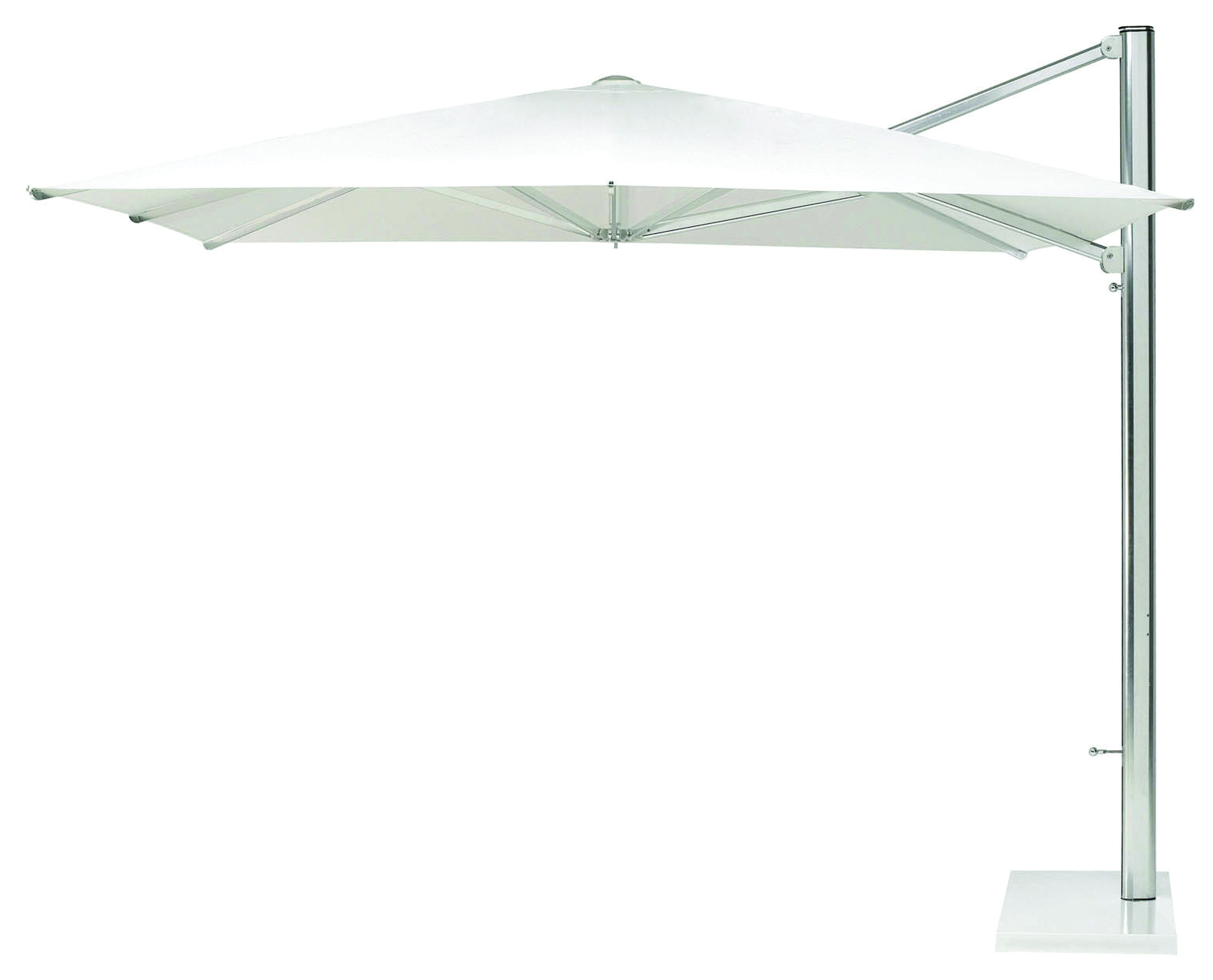 Outdoor - Sonnenschirme - Shade Freiarmschirm / mit seitlichem Fuß - 320 x 400 cm - Emu - Bespannung weiß / Mast aluminium / Standfuß weiß - Metall, Polyester-Gewebe