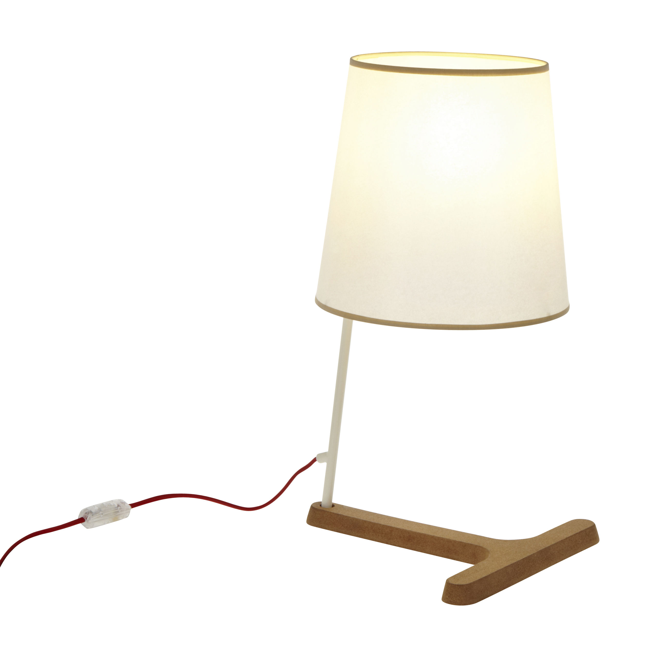 Luminaire - Lampes de table - Lampe de table Cork T-Low H 51 cm - Forestier - Blanc / Liseré beige - H 51 cm - Liège, Matière plastique, Métal