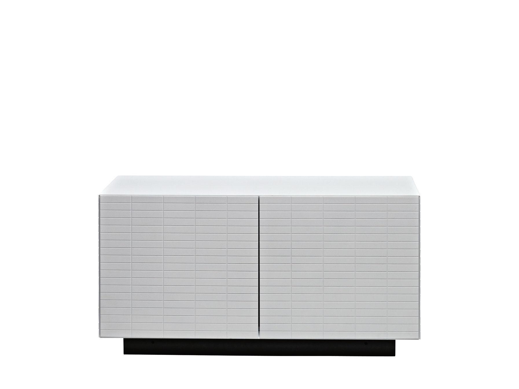 Mobilier - Meubles de rangement - Meuble bas Toshi / Modèle n°2 - L 91 cm x H 47,5 cm - Casamania - Blanc / Base anthracite - MDF laqué, Métal