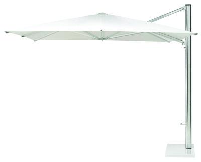 Outdoor - Ombrelloni - Ombrellone mobile Shade - / Asta laterale - 320 x 400 cm di Emu - Tela bianca / Asta in alluminio / Base bianca - Metallo, Tela poliestere