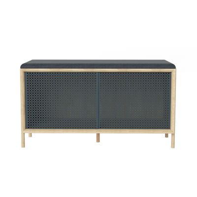 Arredamento - Panchine - Panchina Gabin - / Con cuscino & scomparto - L 92 cm di Hartô - grigio ardesia / rovere - Espanso, MDF rivestito in rovere, metallo laccato, Tessuto