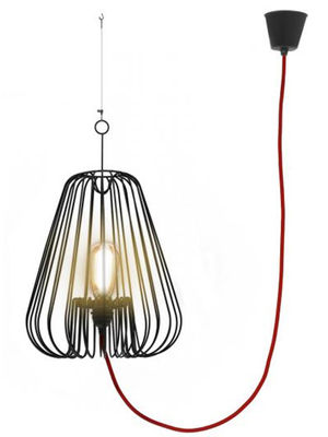 Lighting - Pendant Lighting - Small Light Cage Pendant by La Corbeille - Black / red wire - Lacquered metal