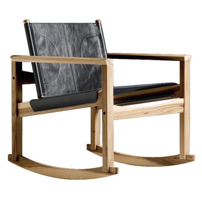 Rocking chair Peglev - Objekto noir/bois naturel en cuir/bois