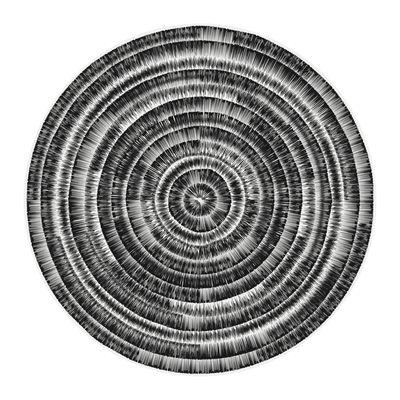 Decoration - Rugs - Spirale Rug - / Ø 145 cm - Vinyl by PÔDEVACHE - Black & grey - Vinal