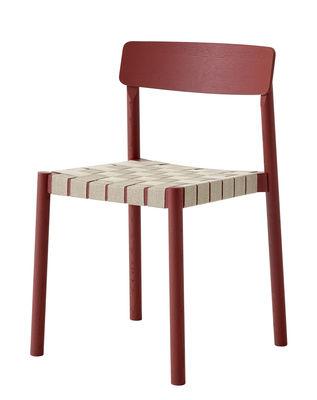 Arredamento - Sedie  - Sedia impilabile Betty TK1 di &tradition - Rosso - Compensato, Legno massello, Lino