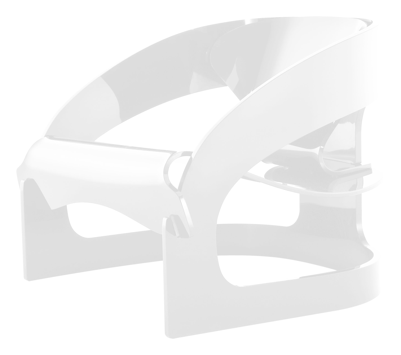 Möbel - Lounge Sessel - 4801 Sessel by Joe Colombo - limitierte und numerierte Auflage - Kartell - Weiß - PMMA