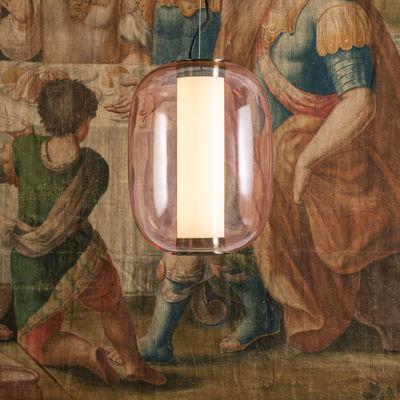 Illuminazione - Lampadari - Sospensione Meridiano Media - / LED - H 41cm di Fontana Arte - Rose - Metallo nichelato, Vetro pyrex, vetro soffiato