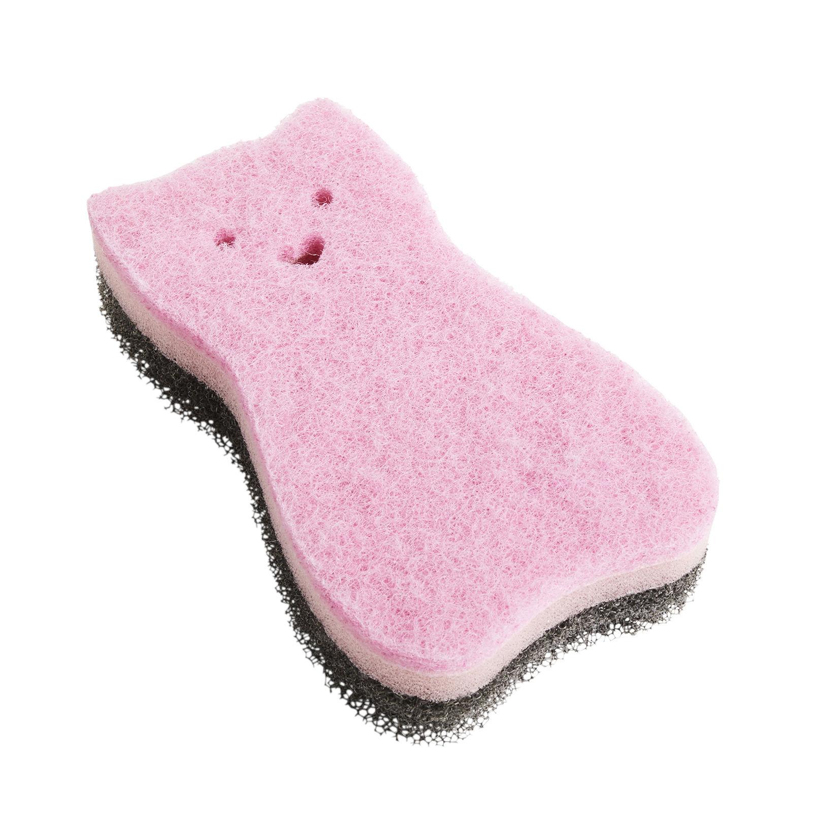 Kitchenware - Kitchen Sink Accessories - Kitty Sponge by Hay - Kitty / Pink - Polyester, Polyurethane foam