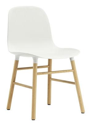 Möbel - Stühle  - Form Stuhl / Stuhlbeine aus Eiche - Normann Copenhagen - Weiß / Eiche - Eiche, Polypropylen