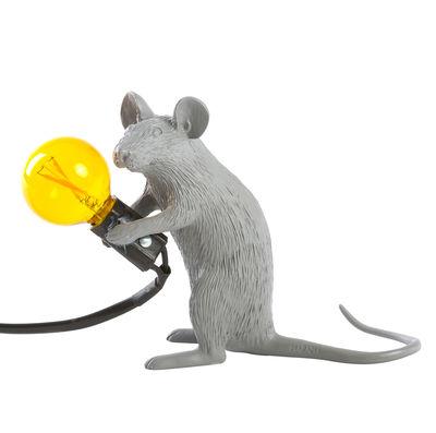 Dekoration - Für Kinder - Mouse Sitting #2 Tischleuchte / sitzende Maus - Seletti - Maus sitzend / grau - Harz