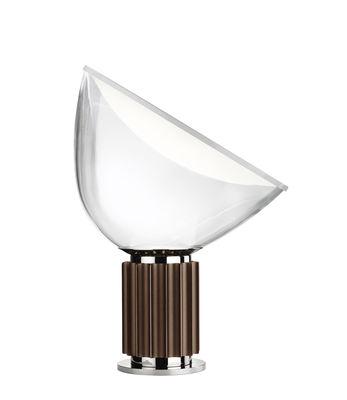 Leuchten - Tischleuchten - Taccia LED Small Tischleuchte / Diffusor aus Glas - H 48 cm - Flos - Bronze / transparent - Aluminium, geblasenes Glas
