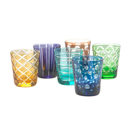 Tableware - Wine Glasses & Glassware - Cuttings Water glass - / Set of 6 by Pols Potten - Multicoloured - Glass