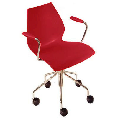 Furniture - Office Chairs - Maui Armchair on casters by Kartell - Red - Chromed steel, Polypropylene