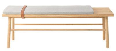 Straight Bank / mit Sitzkissen und Lederriemen - L 120 cm - Bloomingville - Braun,Grau,Holz natur