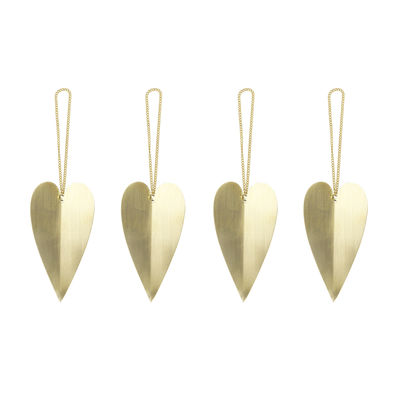 Decoration - Home Accessories - Heart Bauble - / Set of 4 - Brass by Ferm Living - Brass - Solid brass