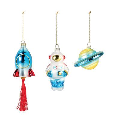 Boule de Noël Espace / Set de 3 - & klevering multicolore en verre