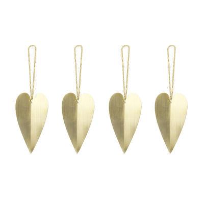 Boule de Noël Heart / Set de 4 - Laiton - Ferm Living laiton doré en métal