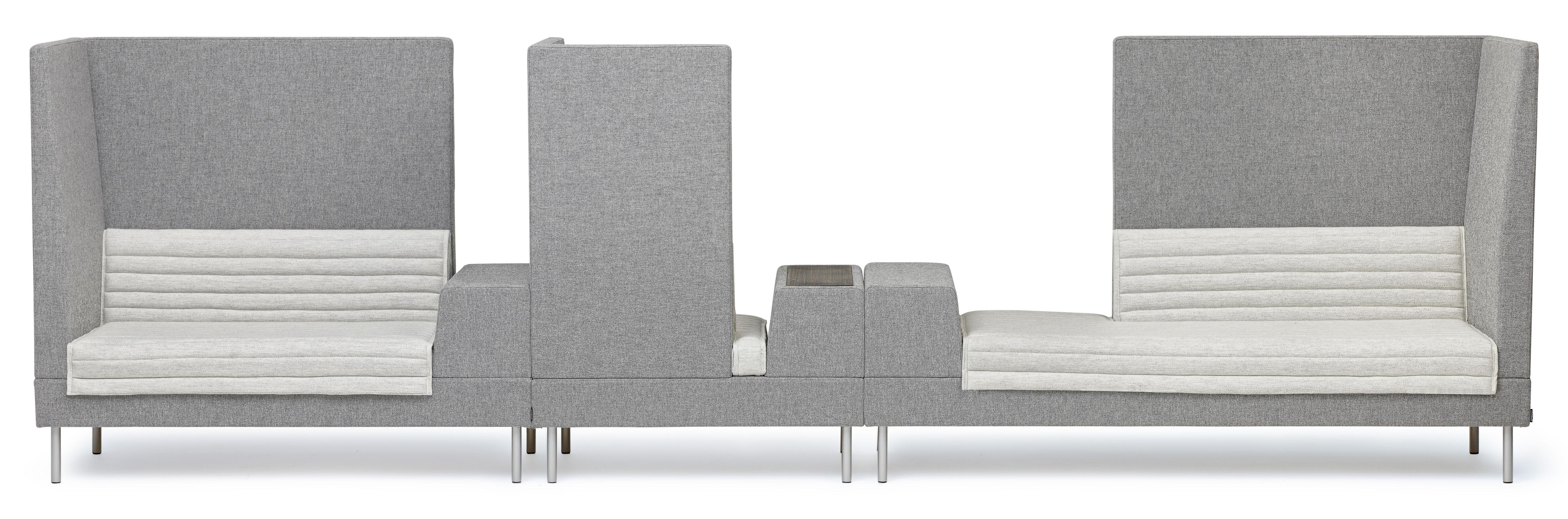 Mobilier - Canapés - Canapé droit Smallroom / angle droit - L 200 cm - Offecct - Gris - Angle droit - Acier chromé, Bois, Mousse, Tissu
