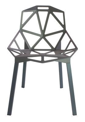 Mobilier - Chaises, fauteuils de salle à manger - Chaise empilable Chair One / Métal - Magis - Gris-vert / Pieds gris-vert - Aluminium verni, Fonte d'aluminium vernie