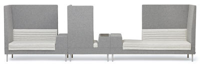 Arredamento - Divani moderni - Divano destro Smallroom di Offecct - Grigio - Angolo destro - Acciaio cromato, Espanso, Legno, Tessuto