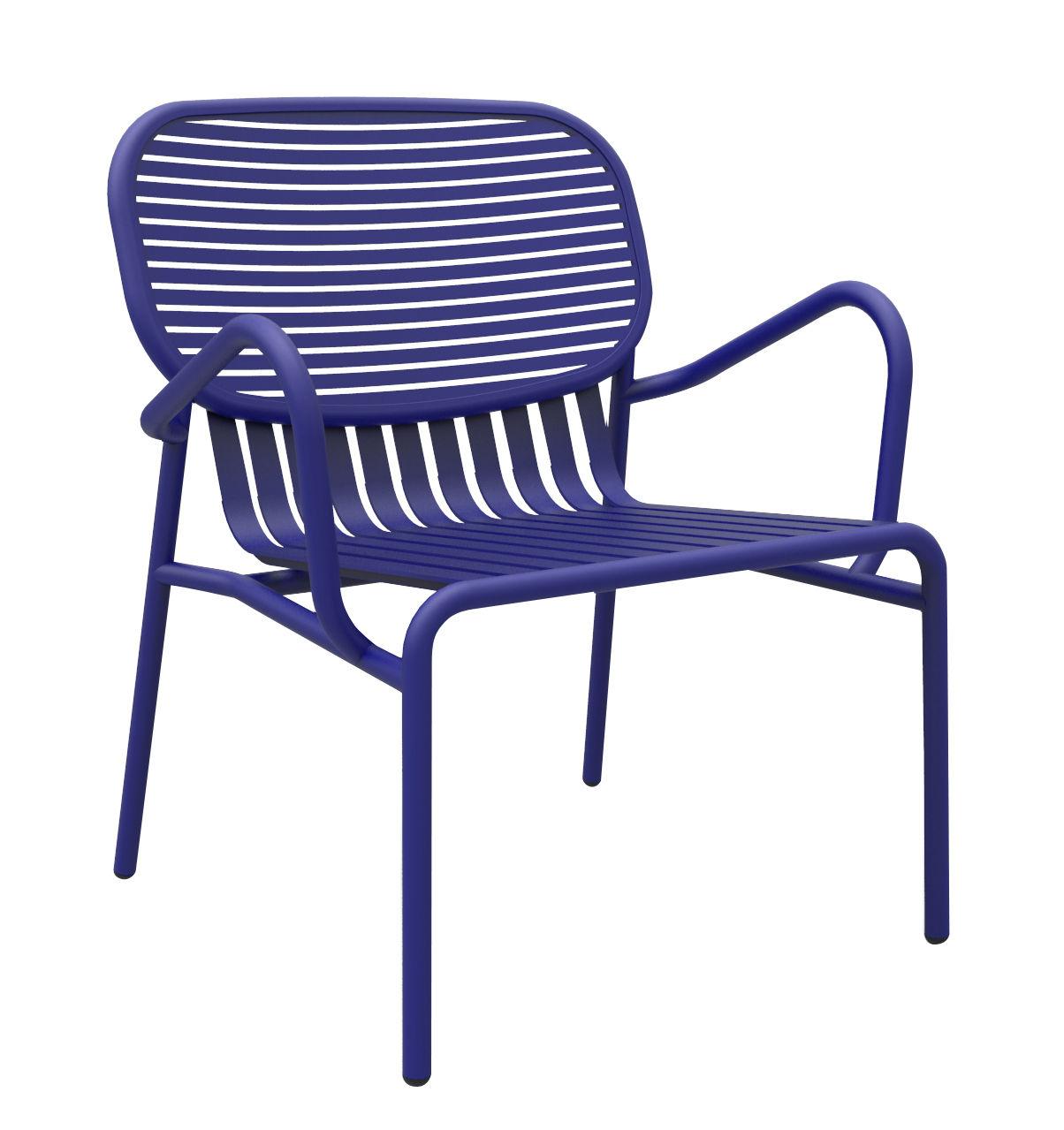 Mobilier - Fauteuils - Fauteuil bas Week-end / Aluminium - Petite Friture - Bleu - Aluminium thermolaqué époxy