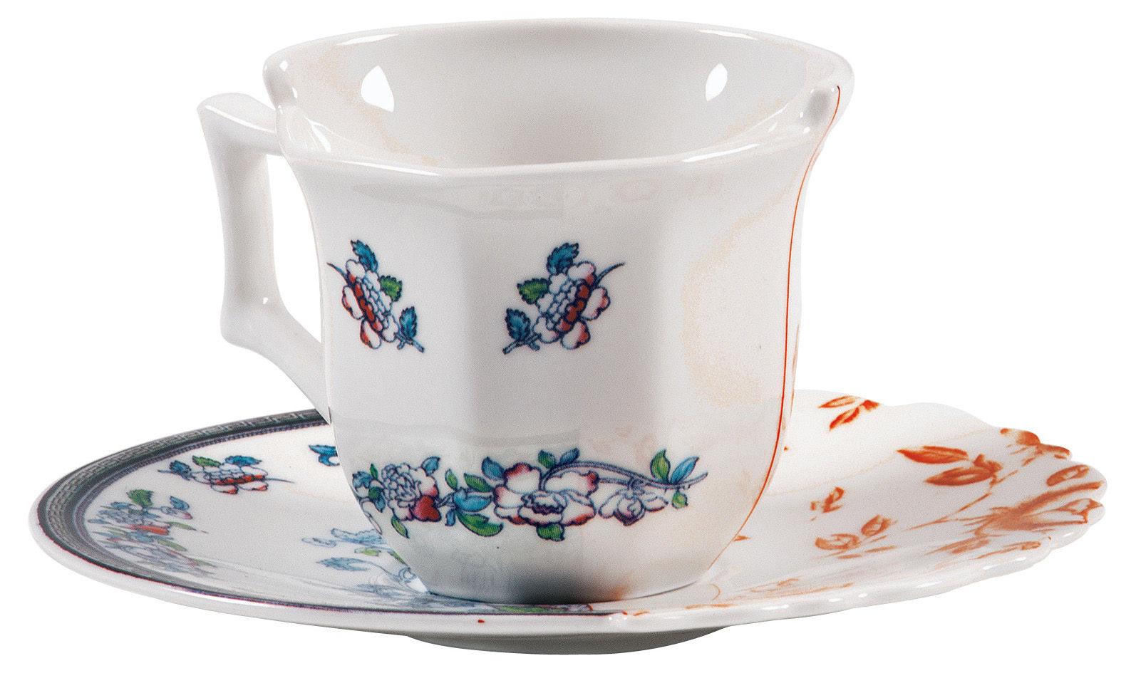 Tischkultur - Tassen und Becher - Hybrid Leonia Kaffeetasse Set aus Kaffeetasse + Untertasse - Seletti - Leonia - Porzellan